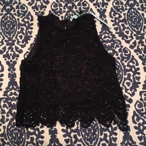NWT Black Scalloped Lace Crop Top Sz M